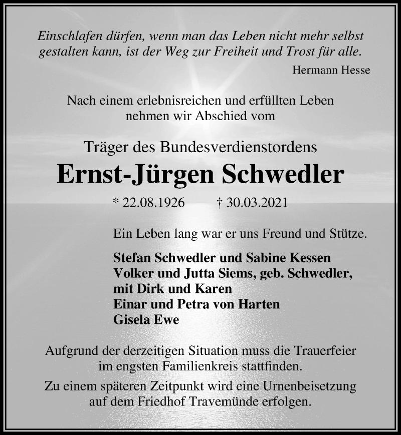Traueranzeige für Ernst-Jürgen Schwedler vom 04.04.2021 aus Lübecker Nachrichten