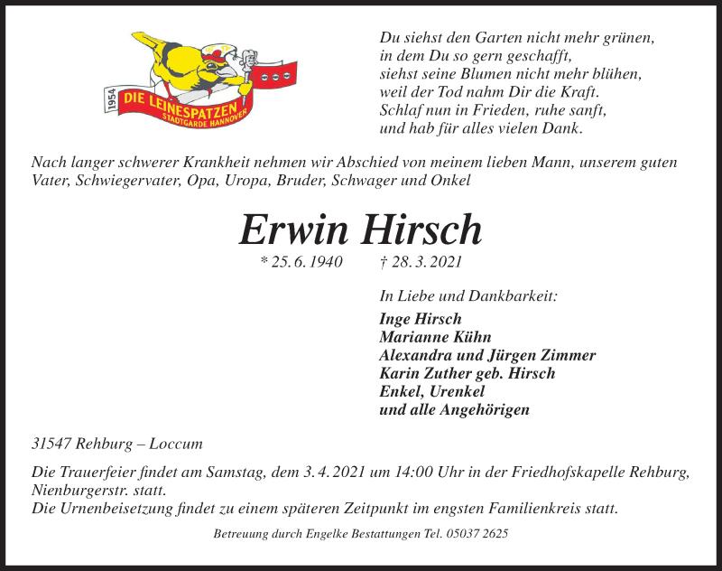 Traueranzeige für Erwin Hirsch vom 01.04.2021 aus Hannoversche Allgemeine Zeitung/Neue Presse