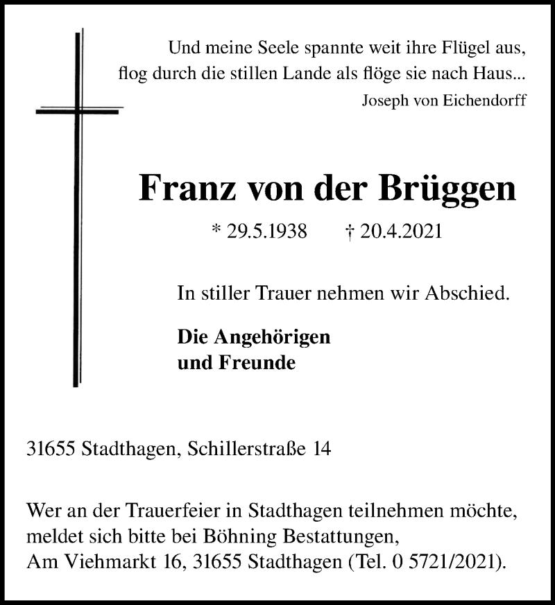 Traueranzeige für Franz von der Brüggen vom 24.04.2021 aus Schaumburger Nachrichten