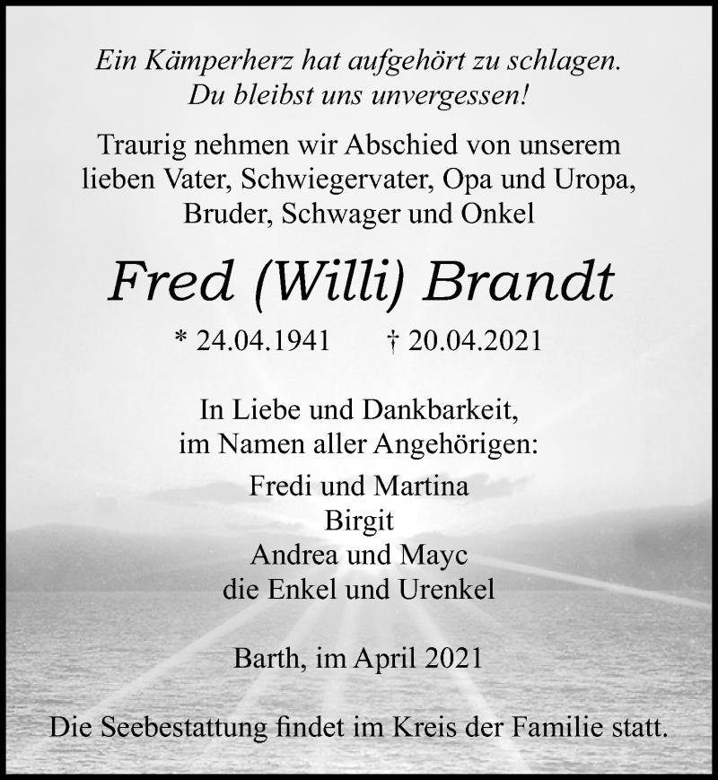 Traueranzeige für Fred Willi Brandt vom 24.04.2021 aus Ostsee-Zeitung GmbH