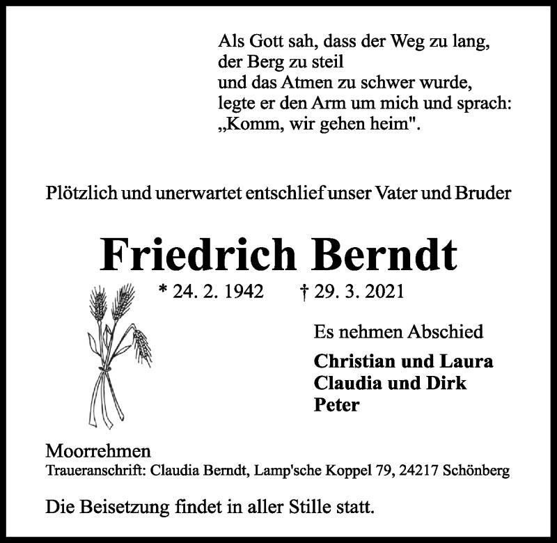Traueranzeige für Friedrich Berndt vom 03.04.2021 aus Kieler Nachrichten