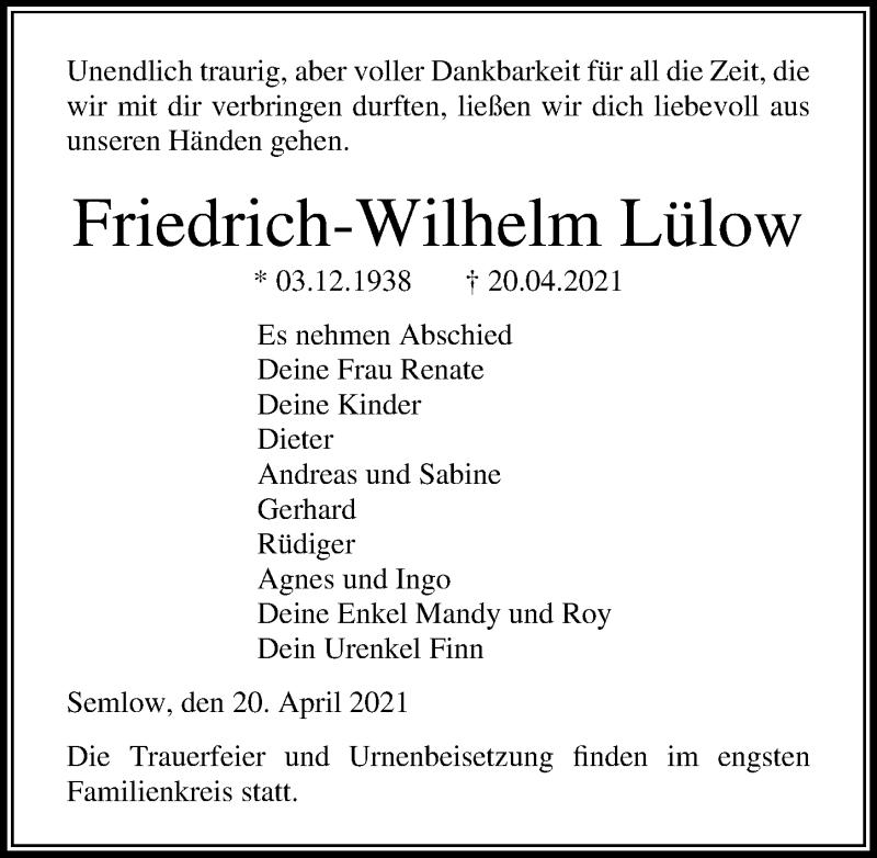 Traueranzeige für Friedrich-Wilhelm Lülow vom 24.04.2021 aus Ostsee-Zeitung GmbH