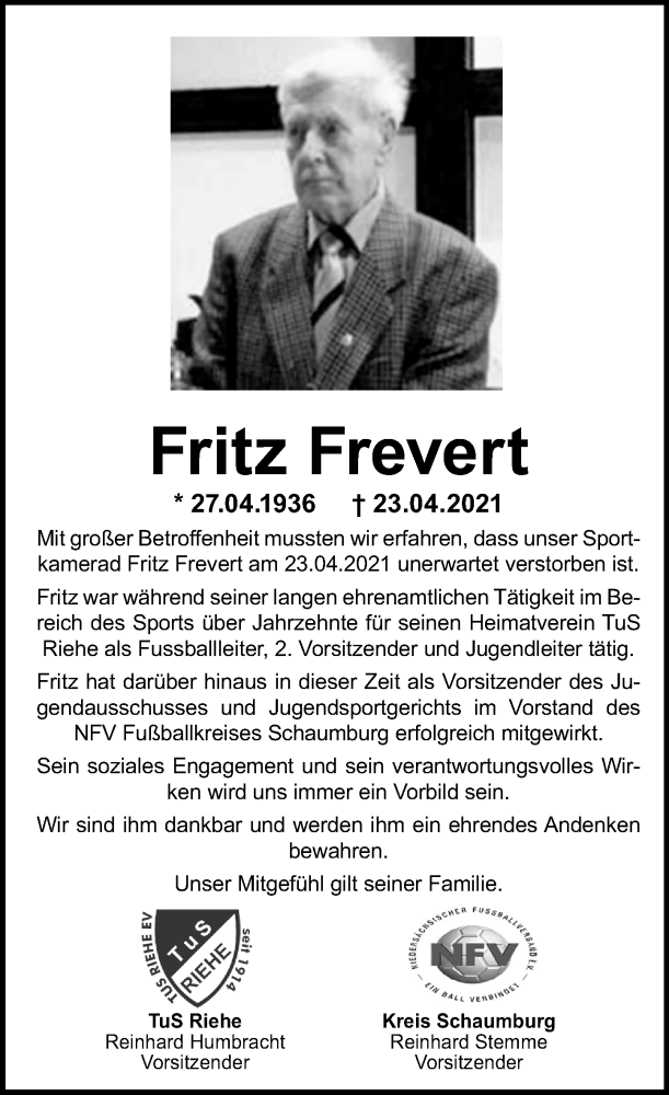 Traueranzeige für Fritz Frevert vom 30.04.2021 aus Schaumburger Nachrichten