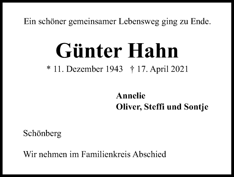Traueranzeige für Günter Hahn vom 24.04.2021 aus Kieler Nachrichten