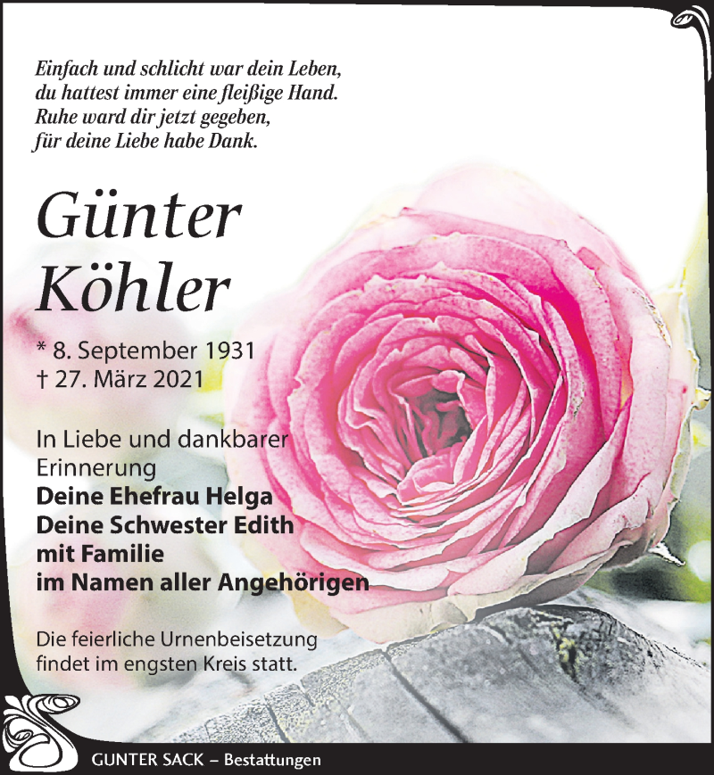 Traueranzeige für Günter Köhler vom 03.04.2021 aus Leipziger Volkszeitung
