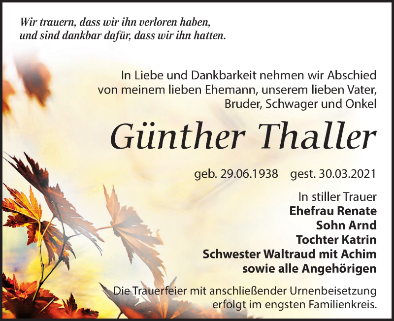 Traueranzeige für Günther Thaller vom 03.04.2021 aus Leipziger Volkszeitung