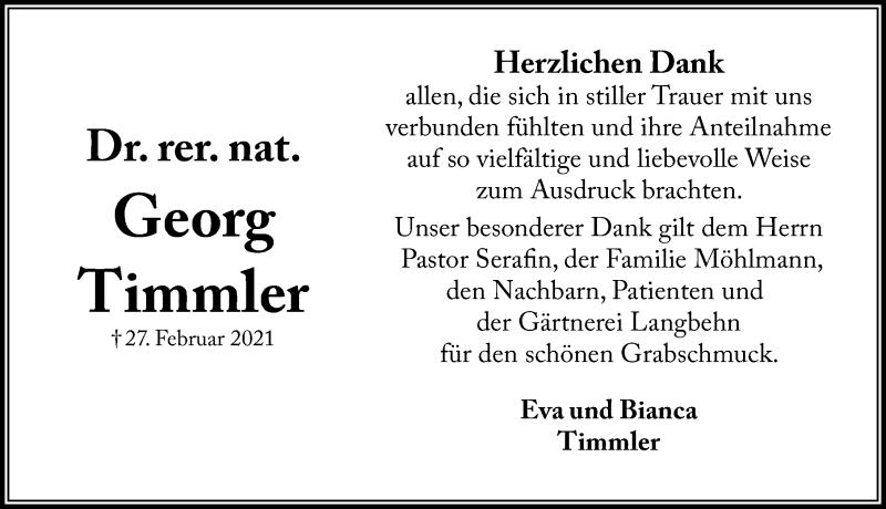 Traueranzeige für Georg Timmler vom 07.04.2021 aus Lübecker Nachrichten