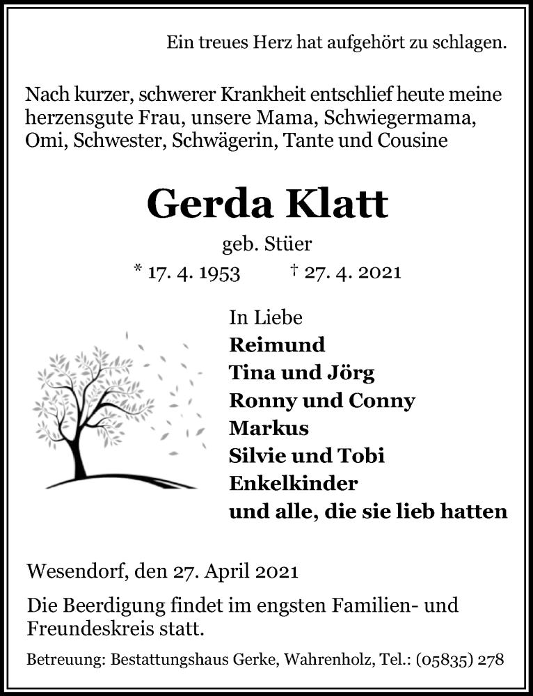 Traueranzeige für Gerda Klatt vom 30.04.2021 aus Aller Zeitung