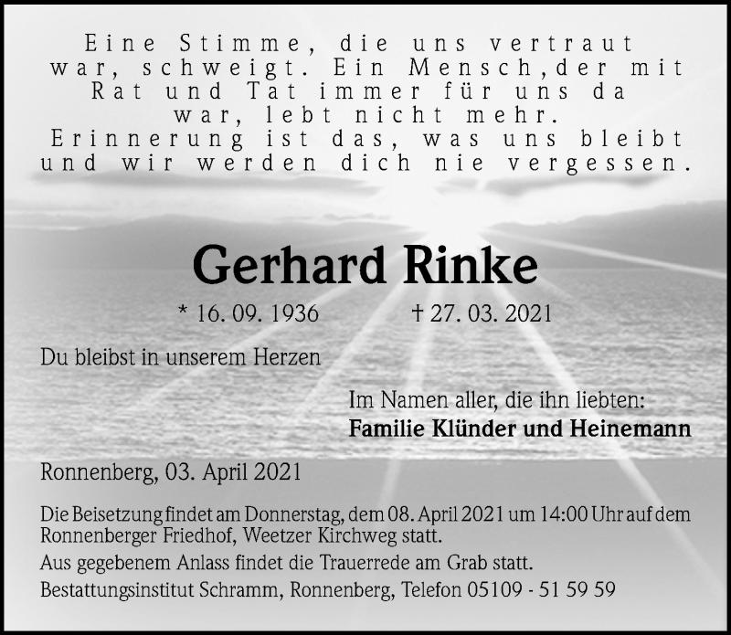Traueranzeige für Gerhard Rinke vom 03.04.2021 aus Hannoversche Allgemeine Zeitung/Neue Presse