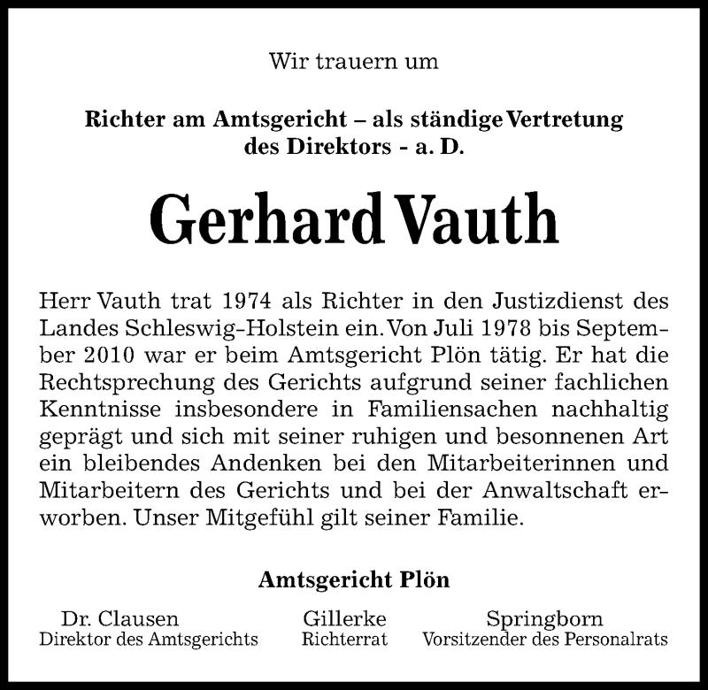 Traueranzeige für Gerhard Vauth vom 24.04.2021 aus Kieler Nachrichten