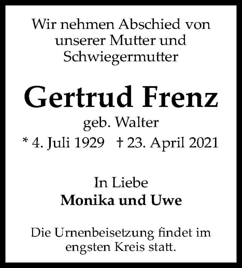 Traueranzeige für Gertrud Frenz vom 30.04.2021 aus Hannoversche Allgemeine Zeitung/Neue Presse