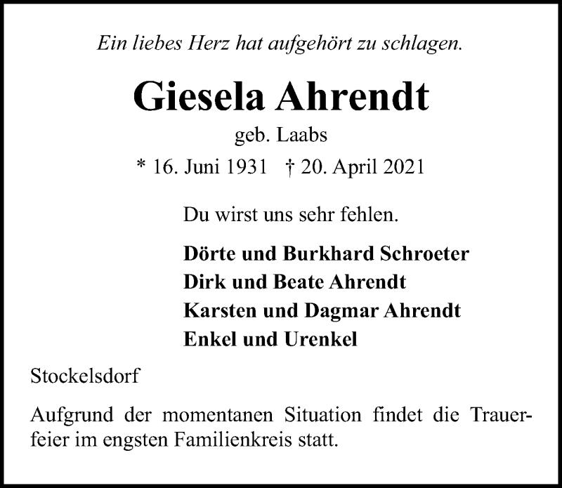 Traueranzeige für Giesela Ahrendt vom 25.04.2021 aus Lübecker Nachrichten