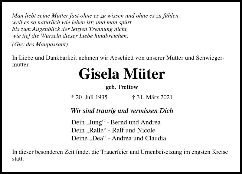 Traueranzeige für Gisela Müter vom 04.04.2021 aus Lübecker Nachrichten