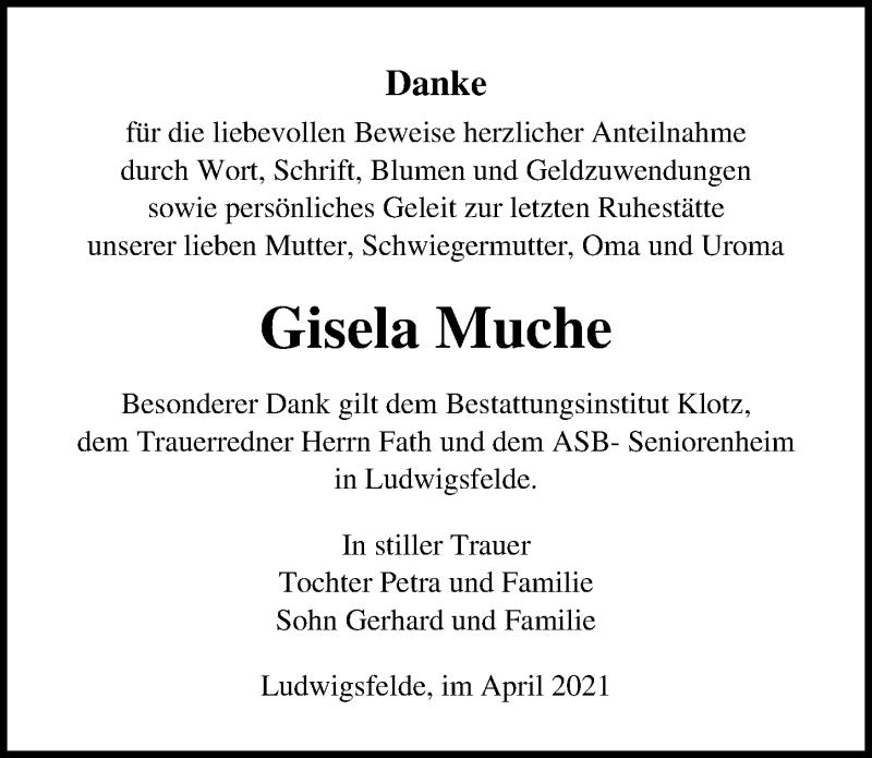 Traueranzeige für Gisela Muche vom 10.04.2021 aus Märkischen Allgemeine Zeitung