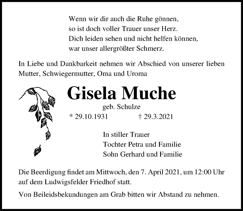Traueranzeige für Gisela Muche vom 03.04.2021 aus Märkischen Allgemeine Zeitung