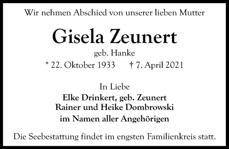 Traueranzeige von  Gisela Zeunert