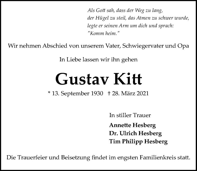 Traueranzeige für Gustav Kitt vom 03.04.2021 aus Hannoversche Allgemeine Zeitung/Neue Presse