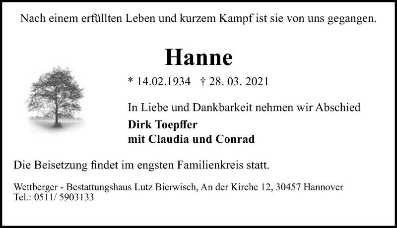 Traueranzeige für Hanne  vom 03.04.2021 aus Hannoversche Allgemeine Zeitung/Neue Presse