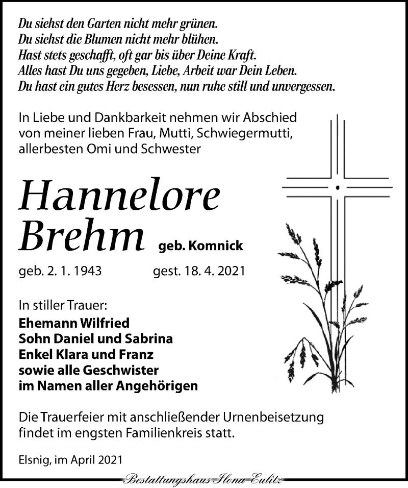 Traueranzeige für Hannelore Brehm vom 24.04.2021 aus Torgauer Zeitung