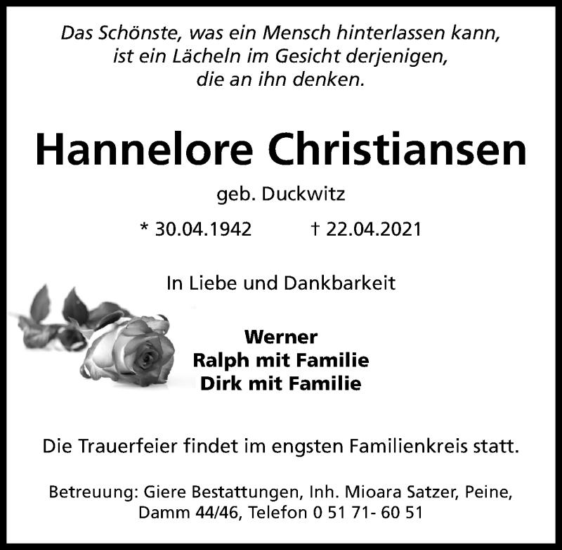 Traueranzeige für Hannelore Christiansen vom 24.04.2021 aus Peiner Allgemeine Zeitung