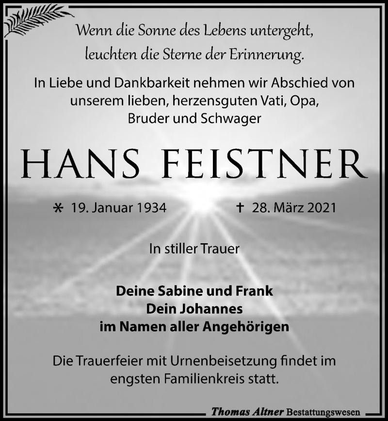 Traueranzeige für Hans Feistner vom 03.04.2021 aus Leipziger Volkszeitung