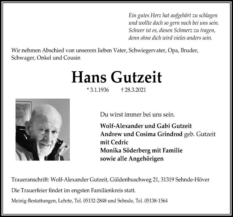 Traueranzeige für Hans Gutzeit vom 03.04.2021 aus Hannoversche Allgemeine Zeitung/Neue Presse