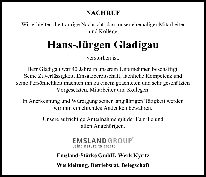 Traueranzeige für Hans-Jürgen Gladigau vom 10.04.2021 aus Märkischen Allgemeine Zeitung