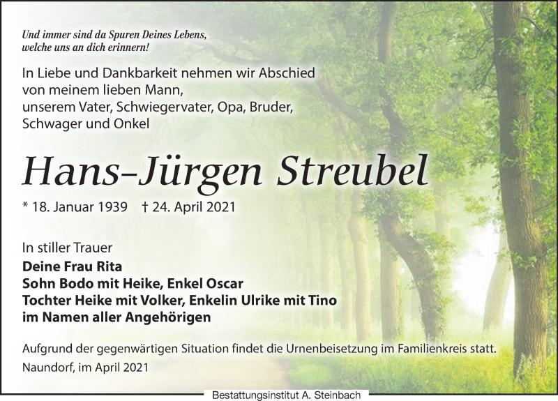 Traueranzeige für Hans-Jürgen Streubel vom 30.04.2021 aus Leipziger Volkszeitung