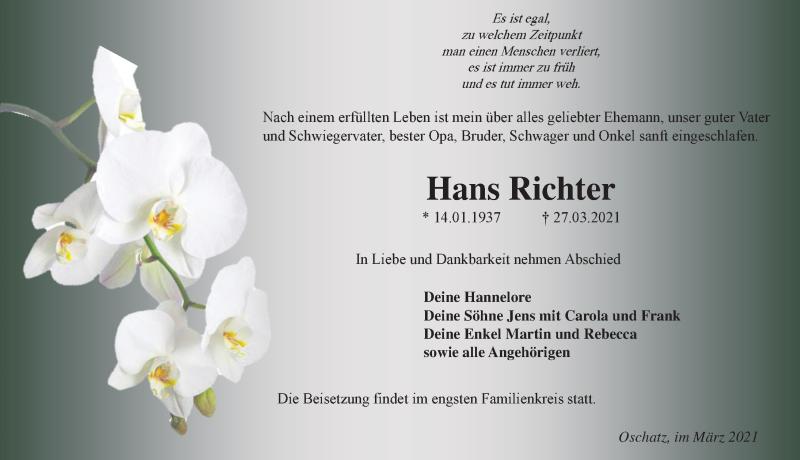 Traueranzeige für Hans Richter vom 03.04.2021 aus Leipziger Volkszeitung