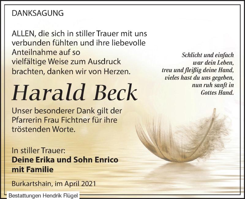 Traueranzeige für Harald Beck vom 03.04.2021 aus Leipziger Volkszeitung