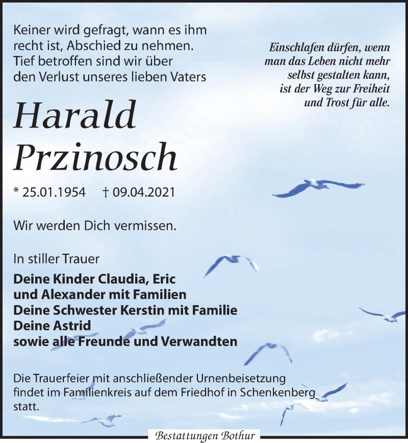 Traueranzeige für Harald Przinosch vom 24.04.2021 aus Leipziger Volkszeitung