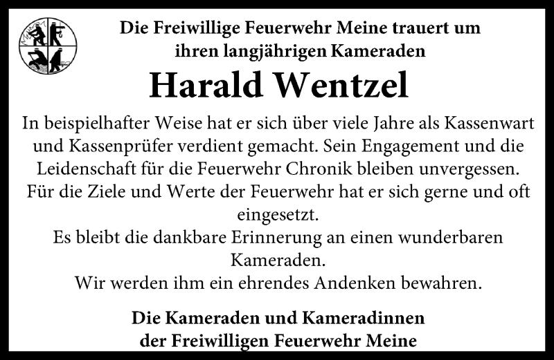 Traueranzeige für Harald Wentzel vom 08.04.2021 aus Aller Zeitung