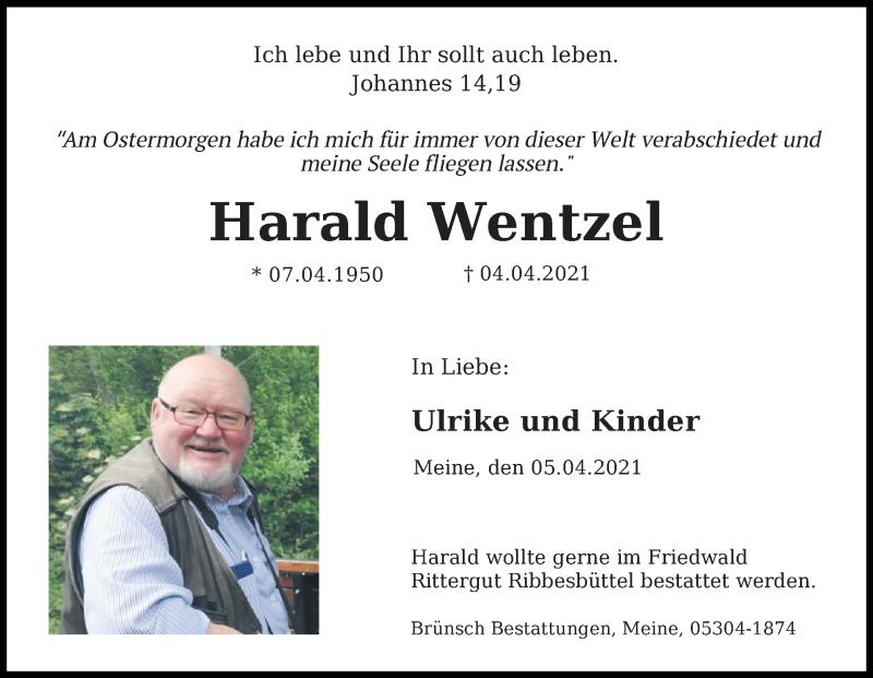 Traueranzeige für Harald Wentzel vom 07.04.2021 aus Aller Zeitung