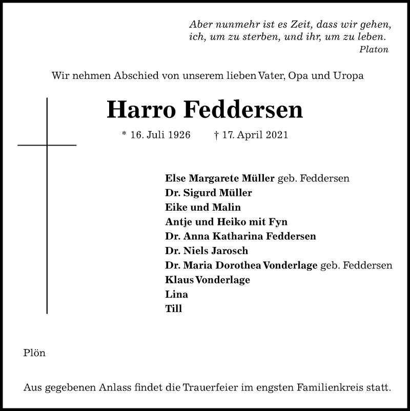 Traueranzeige für Harro Feddersen vom 24.04.2021 aus Kieler Nachrichten