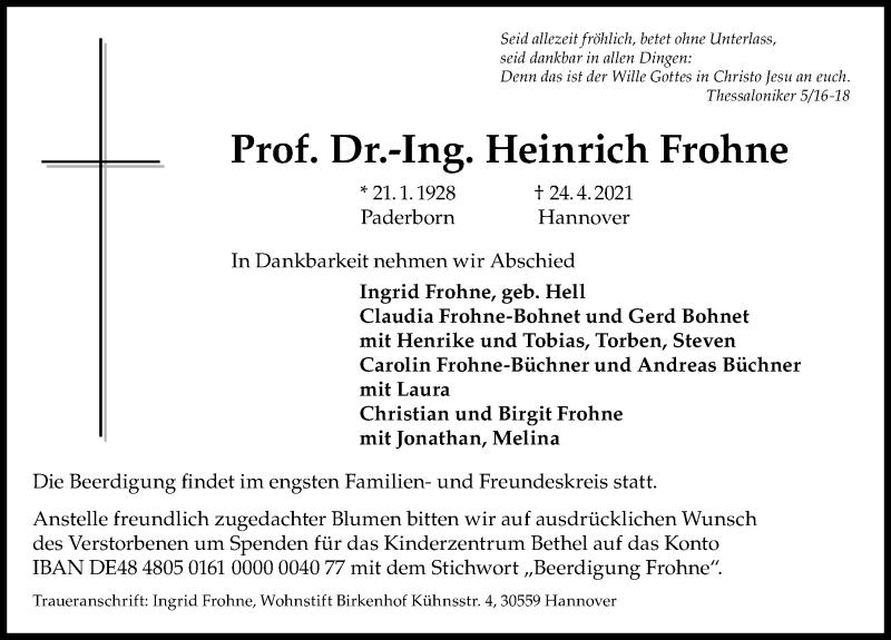 Traueranzeige für Heinrich Frohne vom 30.04.2021 aus Hannoversche Allgemeine Zeitung/Neue Presse