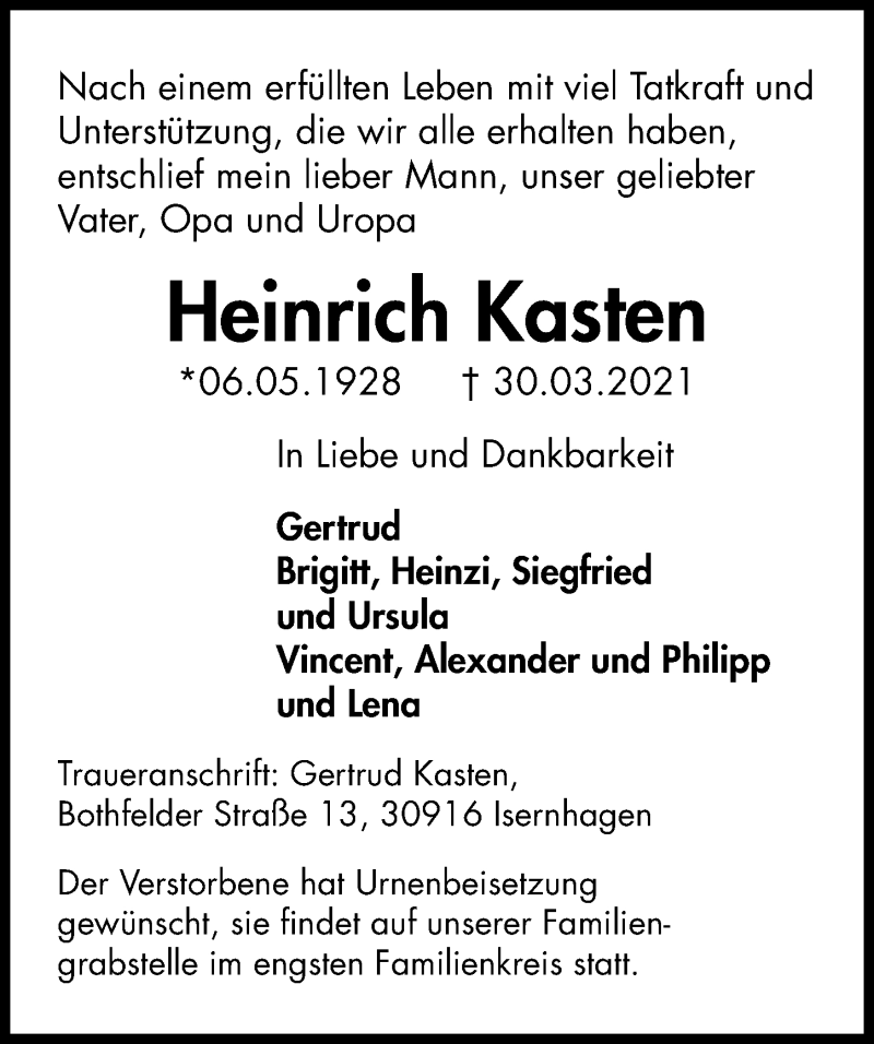 Traueranzeige für Heinrich Kasten vom 03.04.2021 aus Hannoversche Allgemeine Zeitung/Neue Presse