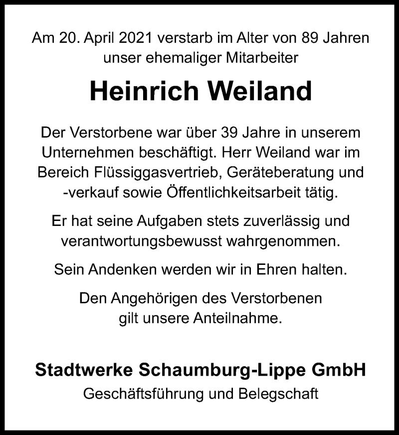 Traueranzeige für Heinrich Weiland vom 30.04.2021 aus Schaumburger Nachrichten