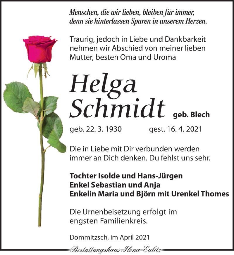 Traueranzeige für Helga Schmidt vom 24.04.2021 aus Torgauer Zeitung