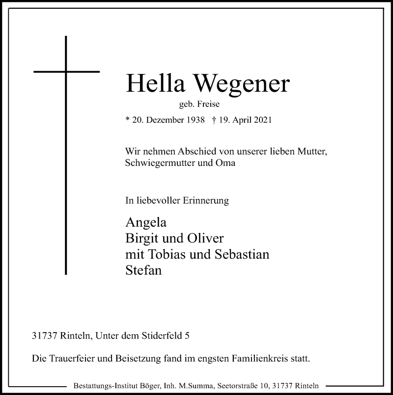 Traueranzeige für Hella Wegener vom 24.04.2021 aus Schaumburger Nachrichten