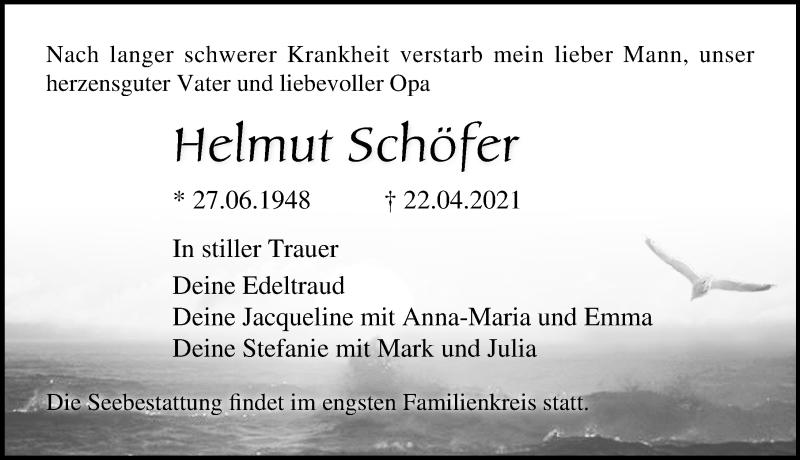 Traueranzeige für Helmut Schöfer vom 24.04.2021 aus Ostsee-Zeitung GmbH