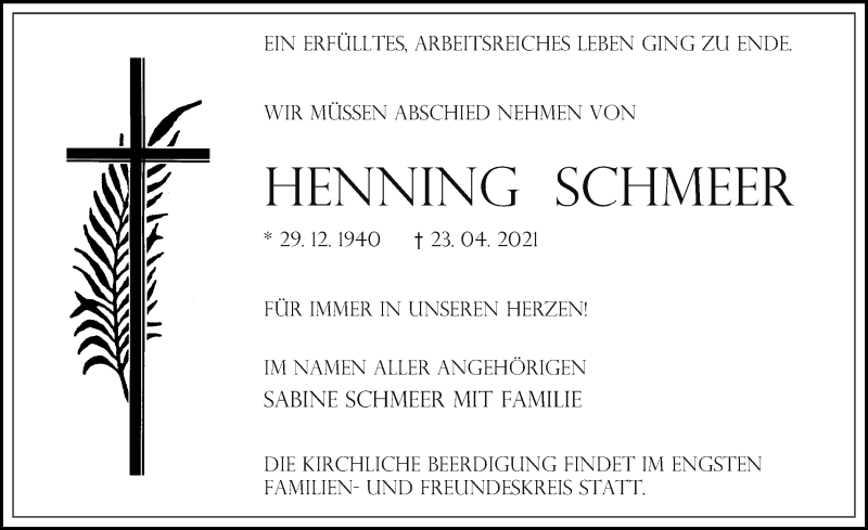 Traueranzeige für Henning Schmeer vom 30.04.2021 aus Märkischen Allgemeine Zeitung