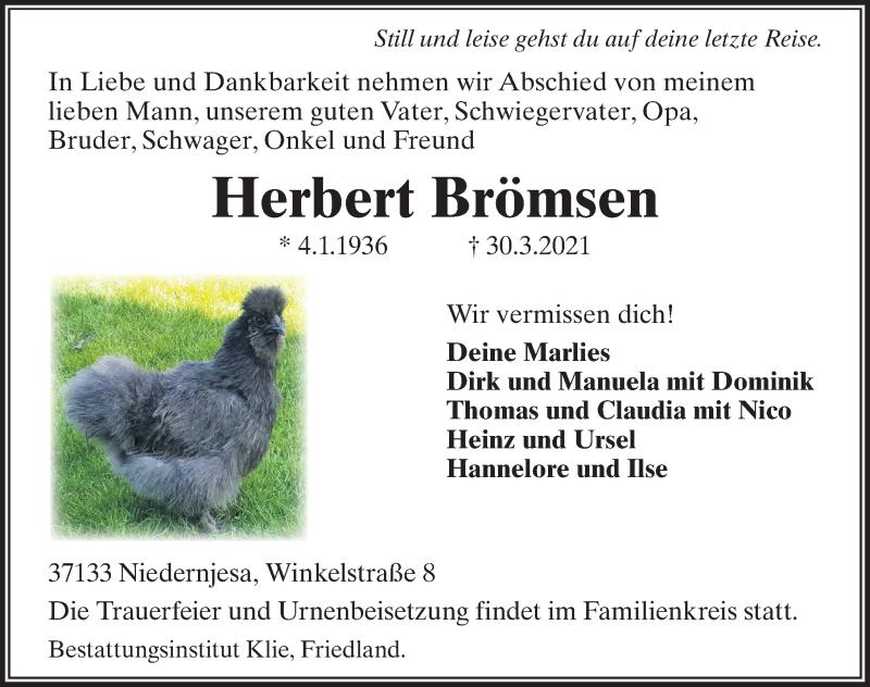 Traueranzeige für Herbert Brömsen vom 03.04.2021 aus Göttinger Tageblatt