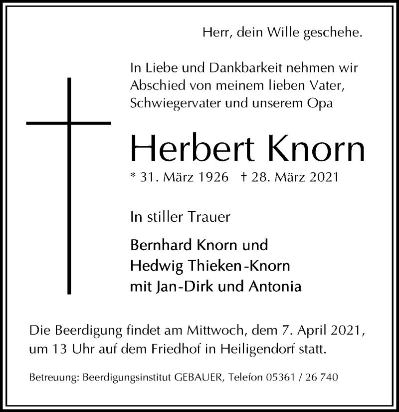 Traueranzeige für Herbert Knorn vom 03.04.2021 aus Aller Zeitung