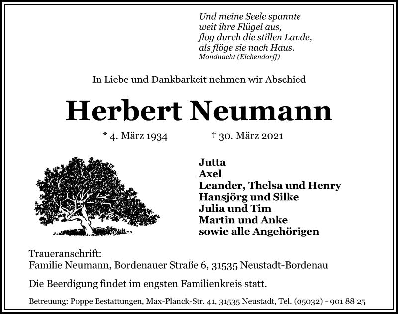 Traueranzeige für Herbert Neumann vom 07.04.2021 aus Hannoversche Allgemeine Zeitung/Neue Presse