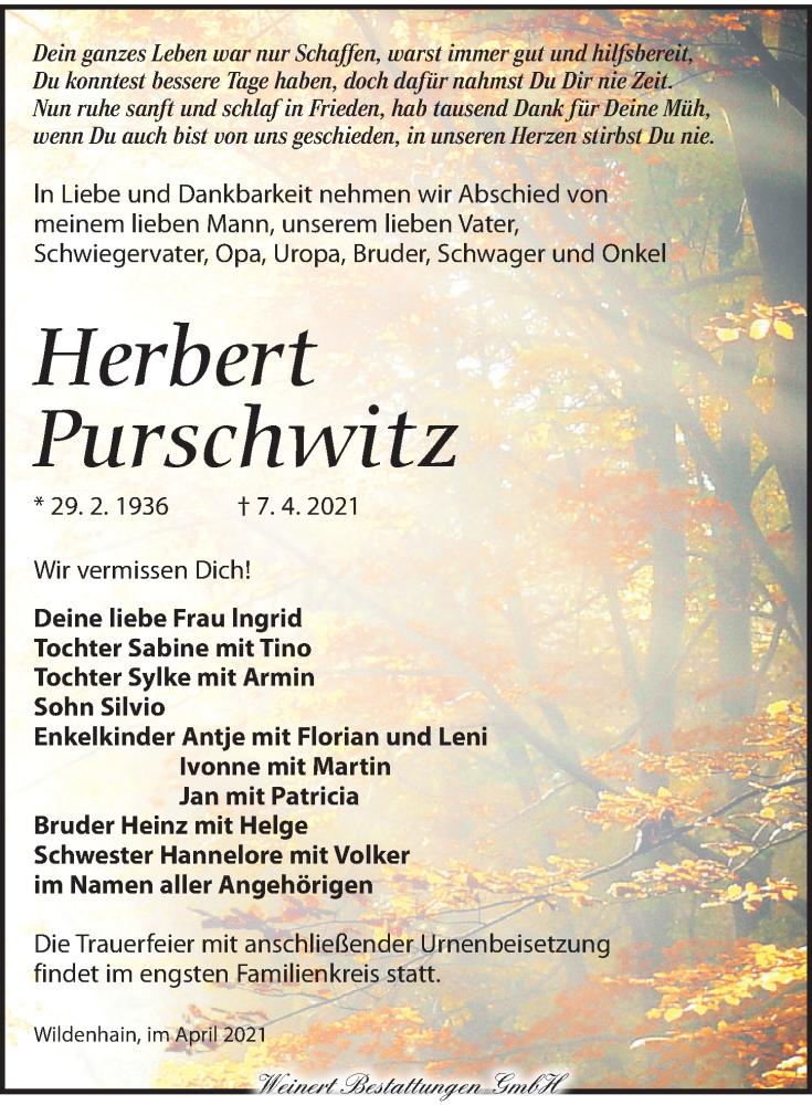 Traueranzeige für Herbert Purschwitz vom 24.04.2021 aus Torgauer Zeitung