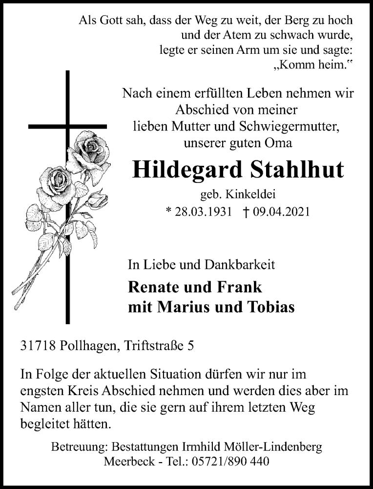 Traueranzeige von  Hildegard Stahlhut