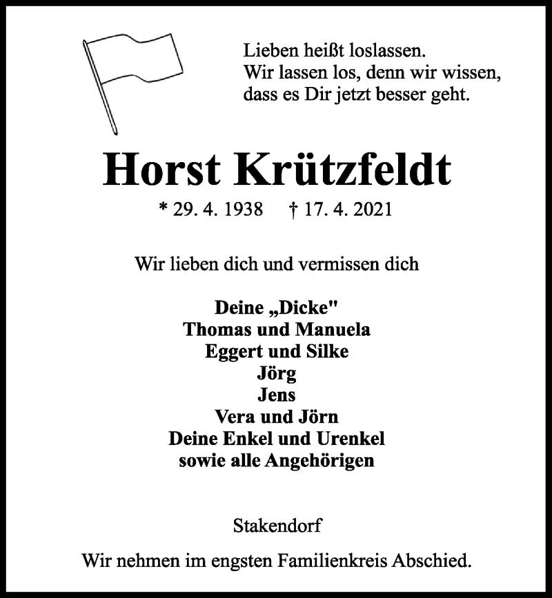 Traueranzeige für Horst Krützfeldt vom 24.04.2021 aus Kieler Nachrichten