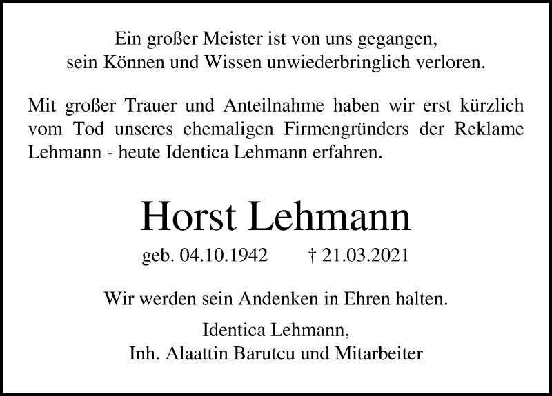 Traueranzeige für Horst Lehmann vom 25.04.2021 aus Lübecker Nachrichten