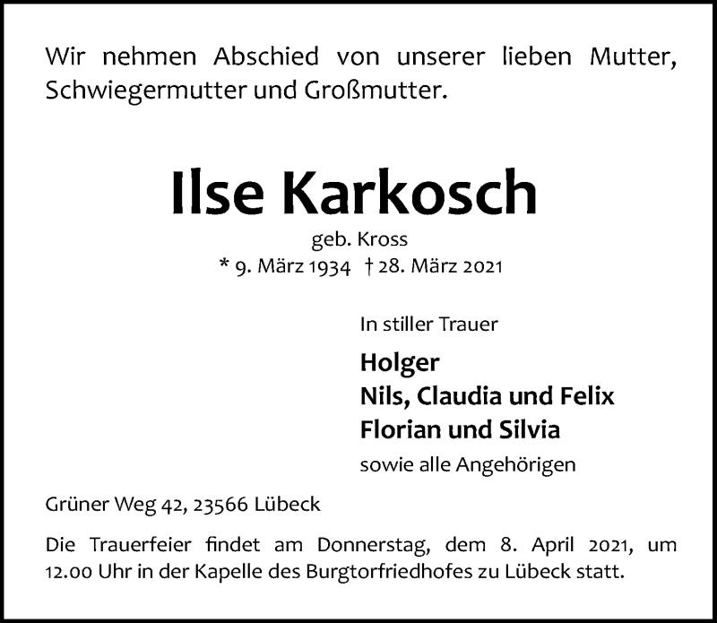 Traueranzeige für Ilse Karkosch vom 04.04.2021 aus Lübecker Nachrichten