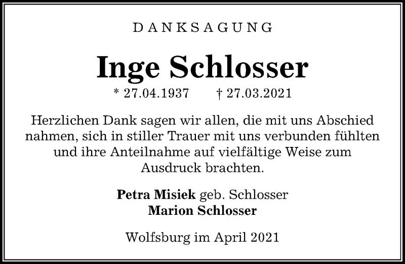 Traueranzeige für Inge Schlosser vom 30.04.2021 aus Aller Zeitung